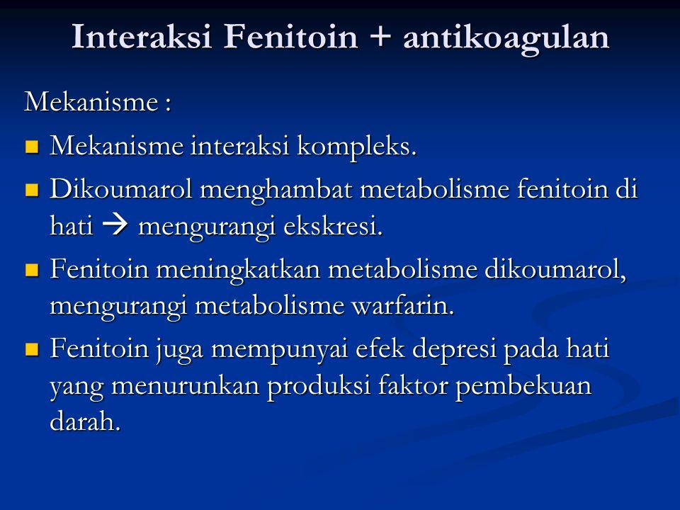 Interaksi Fenitoin + antikoagulan Mekanisme : Mekanisme interaksi kompleks.