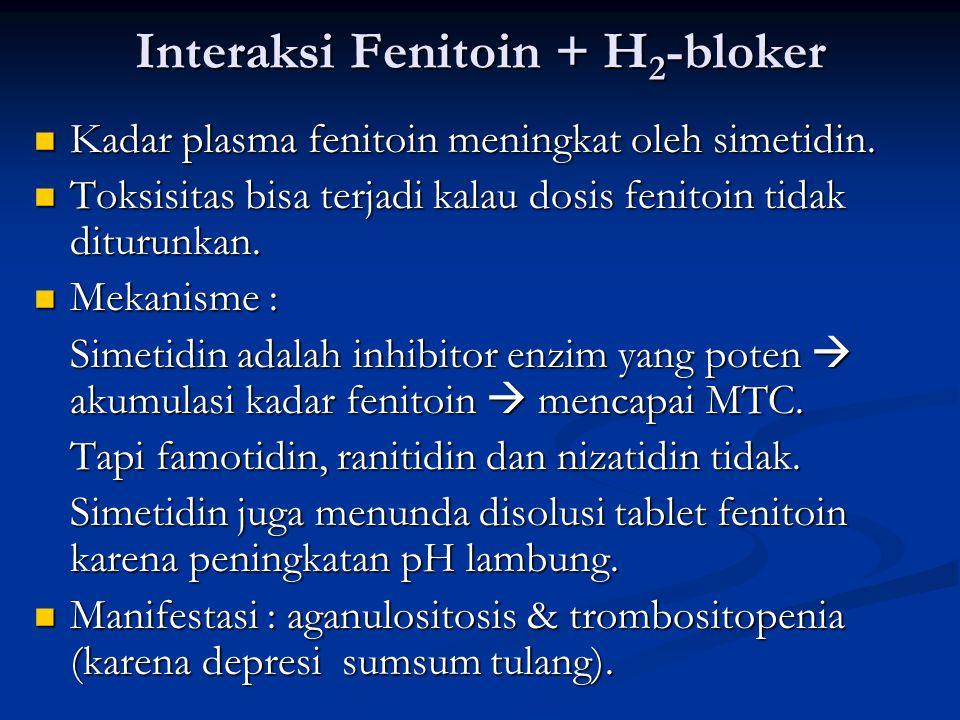 Interaksi Fenitoin + H 2 -bloker Kadar plasma fenitoin meningkat oleh simetidin.