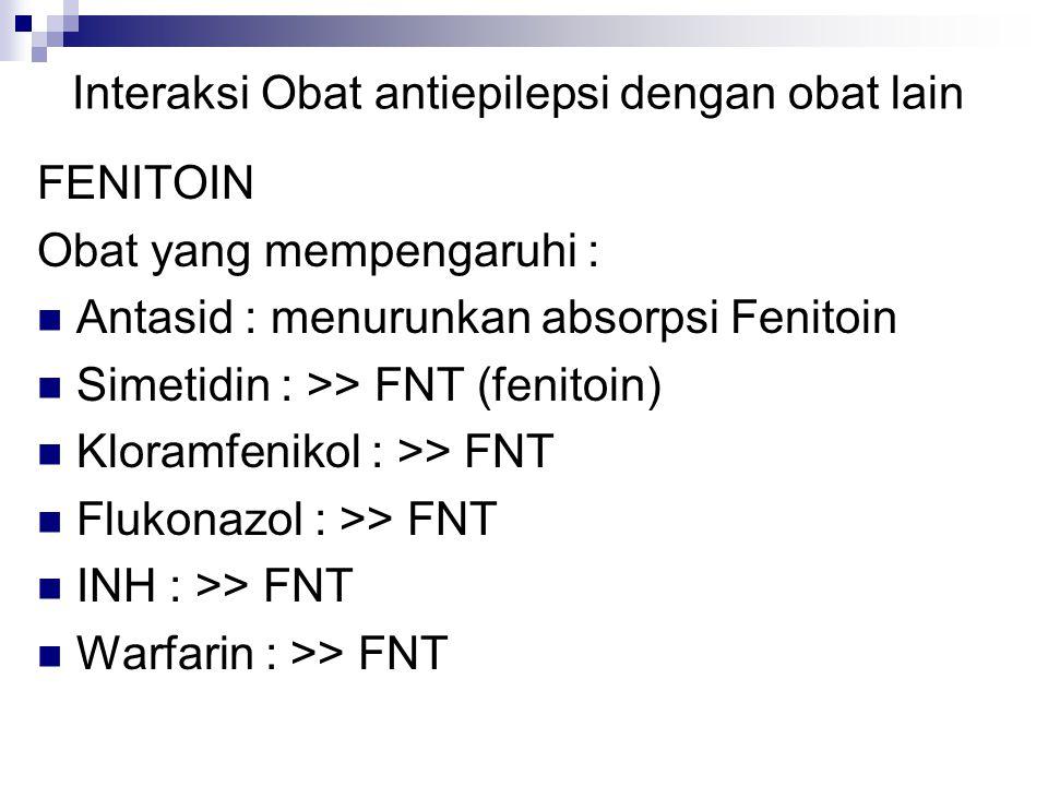 Interaksi Obat antiepilepsi dengan obat lain FENITOIN Obat yang mempengaruhi : Antasid : menurunkan absorpsi Fenitoin Simetidin : >> FNT (fenitoin) Kloramfenikol : >> FNT Flukonazol : >> FNT INH : >> FNT Warfarin : >> FNT