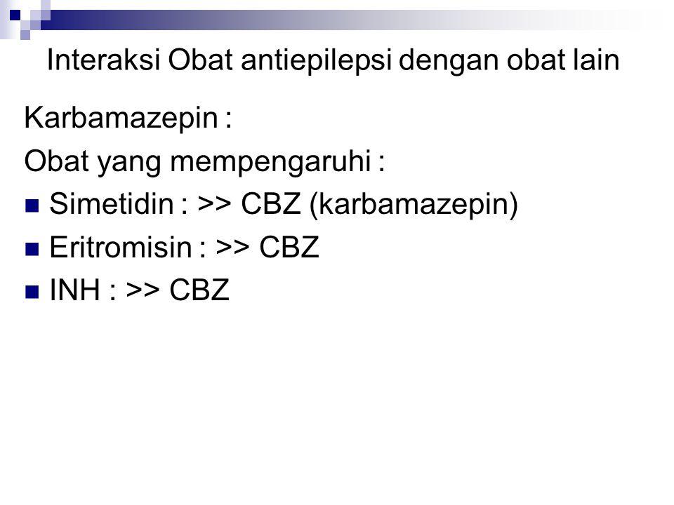 Interaksi Obat antiepilepsi dengan obat lain Karbamazepin : Obat yang mempengaruhi : Simetidin : >> CBZ (karbamazepin) Eritromisin : >> CBZ INH : >> CBZ