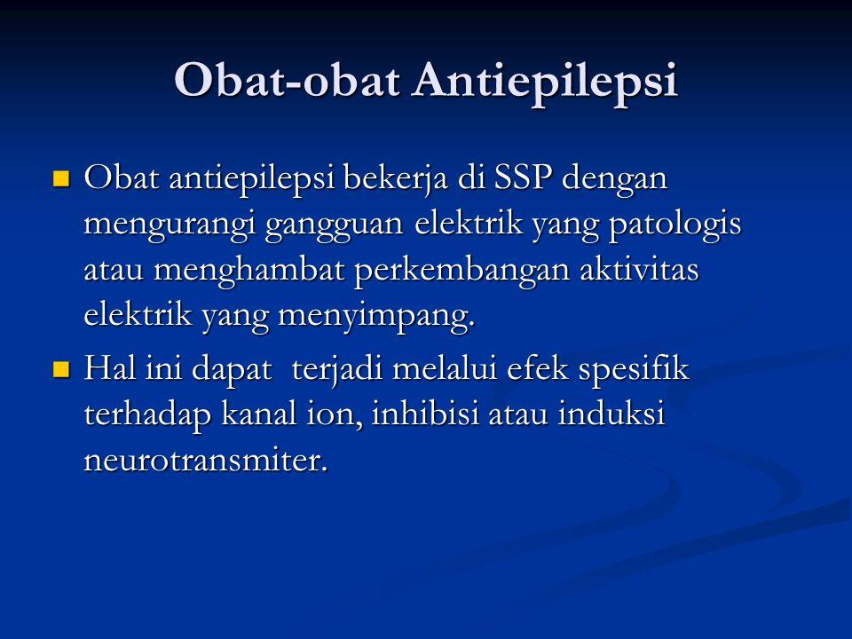 Obat-obat Antiepilepsi Obat antiepilepsi bekerja di SSP dengan mengurangi gangguan elektrik yang patologis atau menghambat perkembangan aktivitas elektrik yang menyimpang.