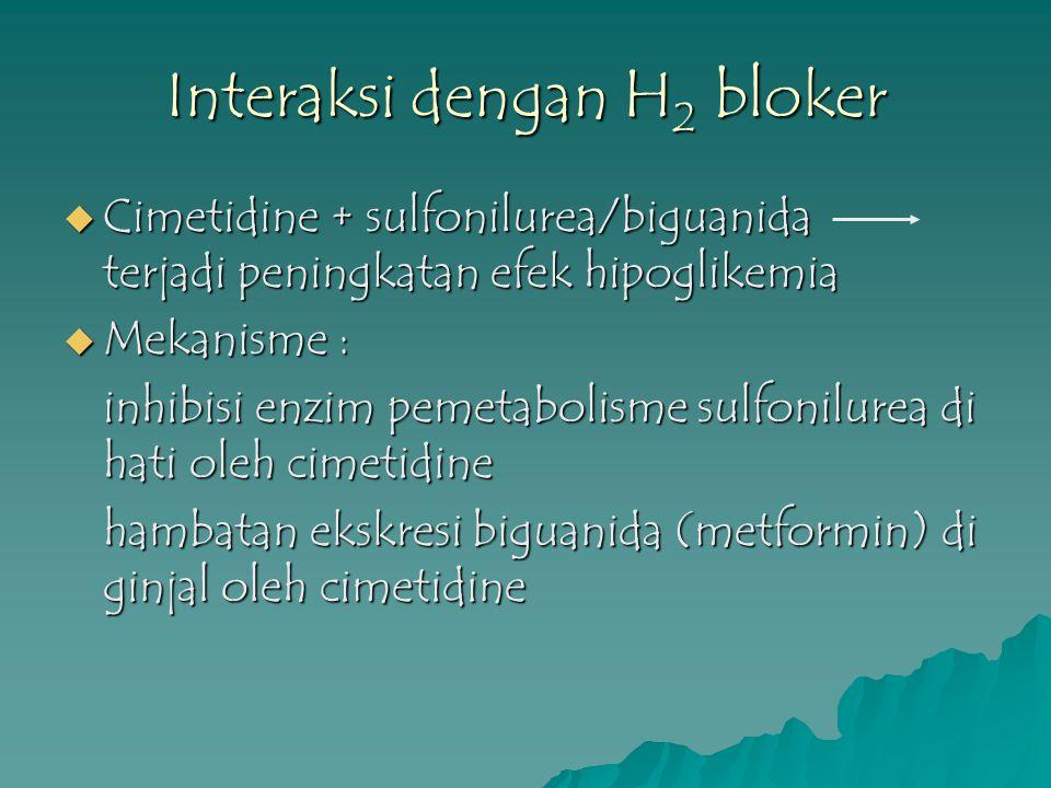 Interaksi dengan H 2 bloker  Cimetidine + sulfonilurea/biguanida terjadi peningkatan efek hipoglikemia  Mekanisme : inhibisi enzim pemetabolisme sul