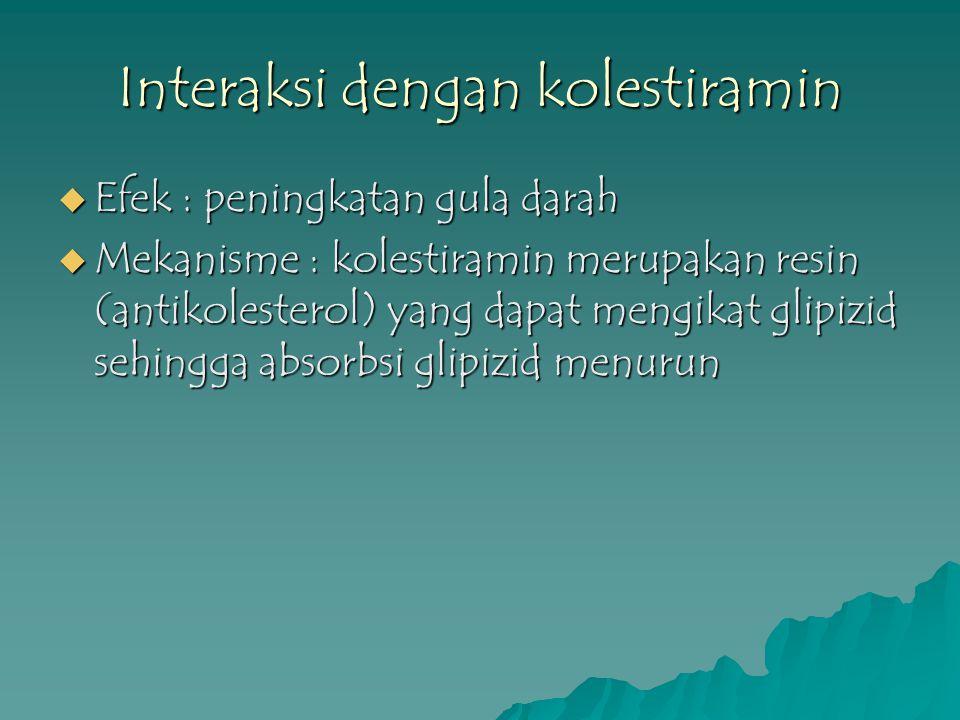 Interaksi dengan kolestiramin  Efek : peningkatan gula darah  Mekanisme : kolestiramin merupakan resin (antikolesterol) yang dapat mengikat glipizid