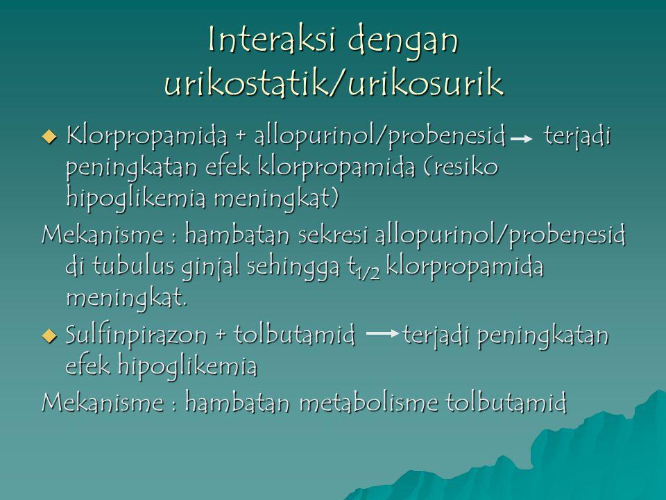 Interaksi dengan urikostatik/urikosurik  Klorpropamida + allopurinol/probenesid terjadi peningkatan efek klorpropamida (resiko hipoglikemia meningkat