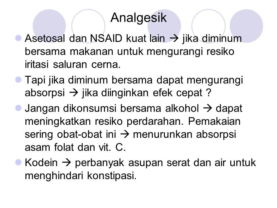 Analgesik Asetosal dan NSAID kuat lain  jika diminum bersama makanan untuk mengurangi resiko iritasi saluran cerna. Tapi jika diminum bersama dapat m