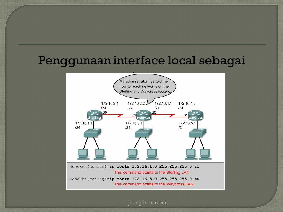 Penggunaan interface local sebagai gateway Jaringan Internet