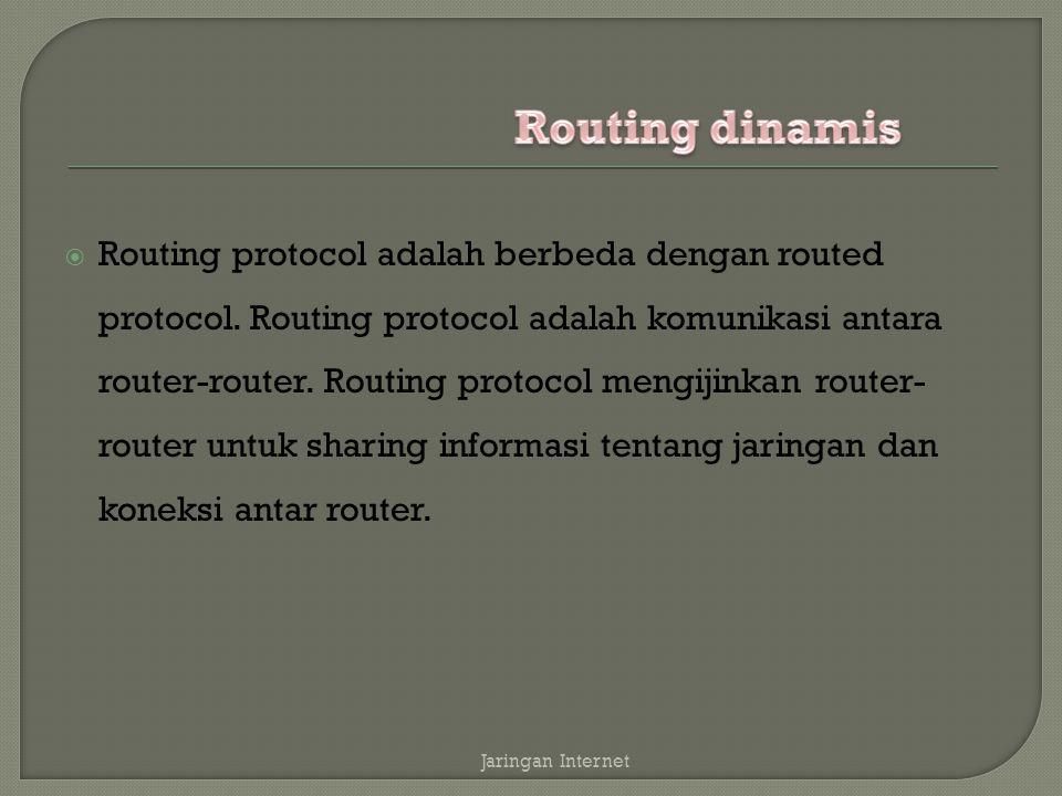  Routing protocol adalah berbeda dengan routed protocol.