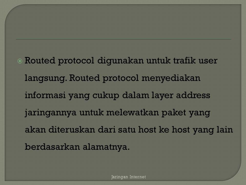  Routed protocol digunakan untuk trafik user langsung.