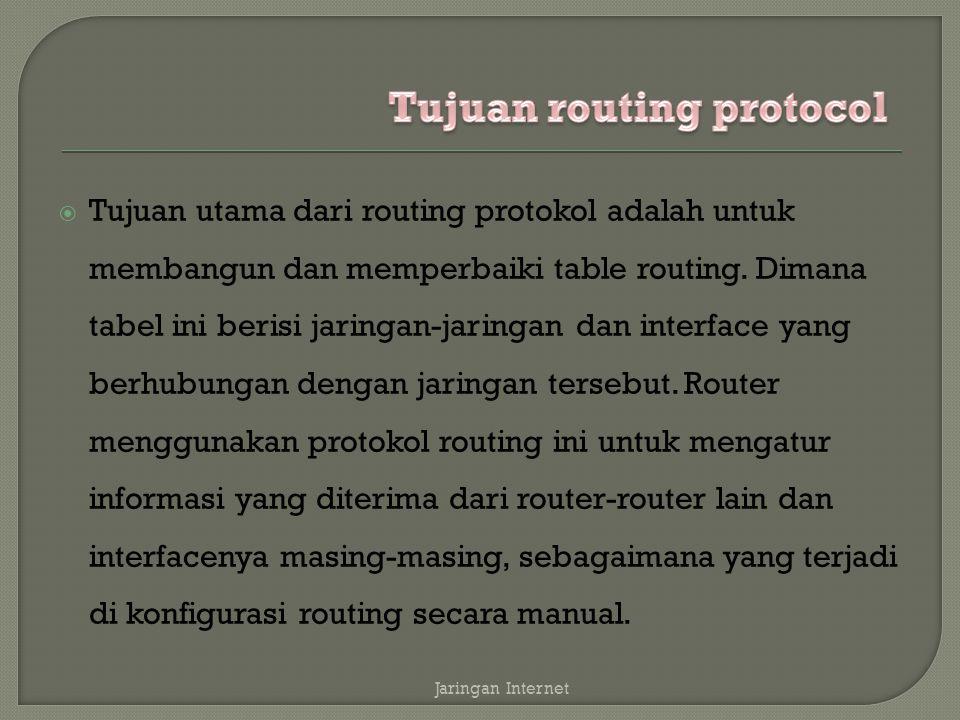  Tujuan utama dari routing protokol adalah untuk membangun dan memperbaiki table routing.
