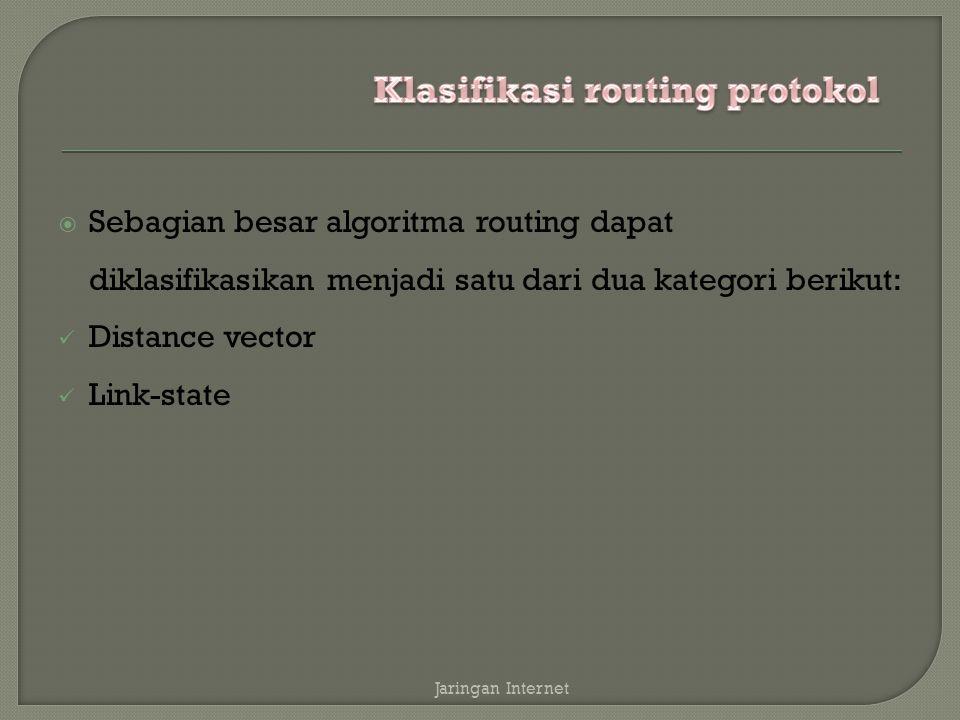  Sebagian besar algoritma routing dapat diklasifikasikan menjadi satu dari dua kategori berikut: Distance vector Link-state Jaringan Internet
