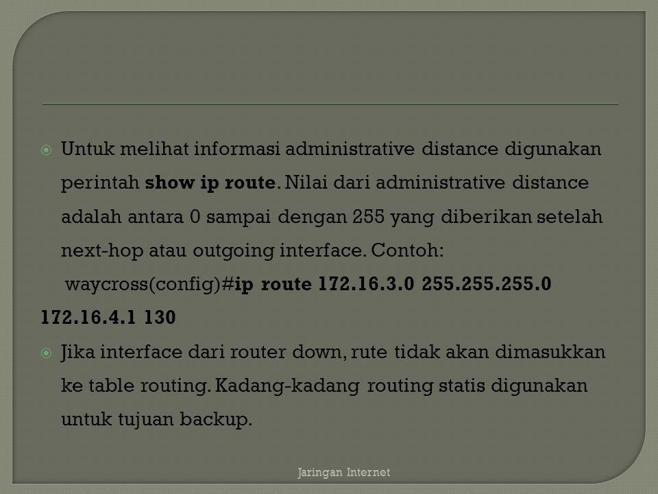  Untuk melihat informasi administrative distance digunakan perintah show ip route.