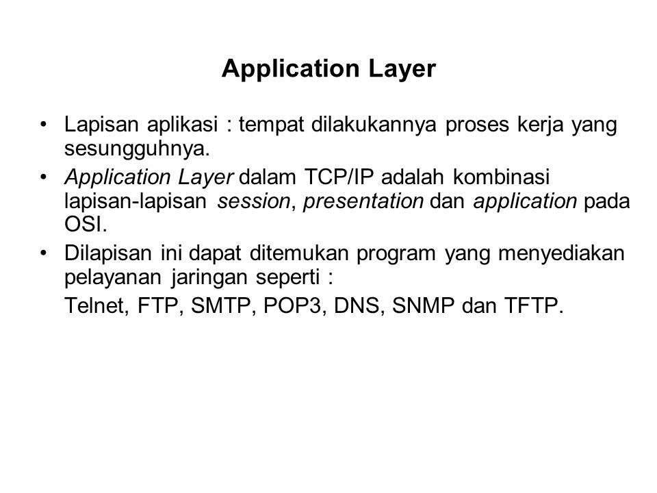 Application Layer Lapisan aplikasi : tempat dilakukannya proses kerja yang sesungguhnya. Application Layer dalam TCP/IP adalah kombinasi lapisan-lapis