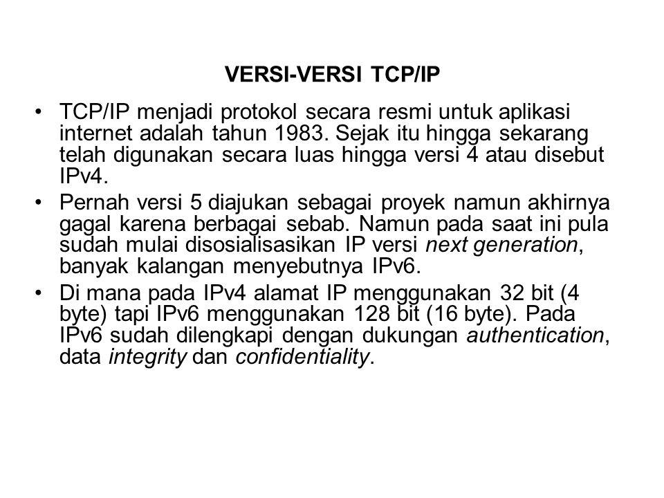 VERSI-VERSI TCP/IP TCP/IP menjadi protokol secara resmi untuk aplikasi internet adalah tahun 1983. Sejak itu hingga sekarang telah digunakan secara lu