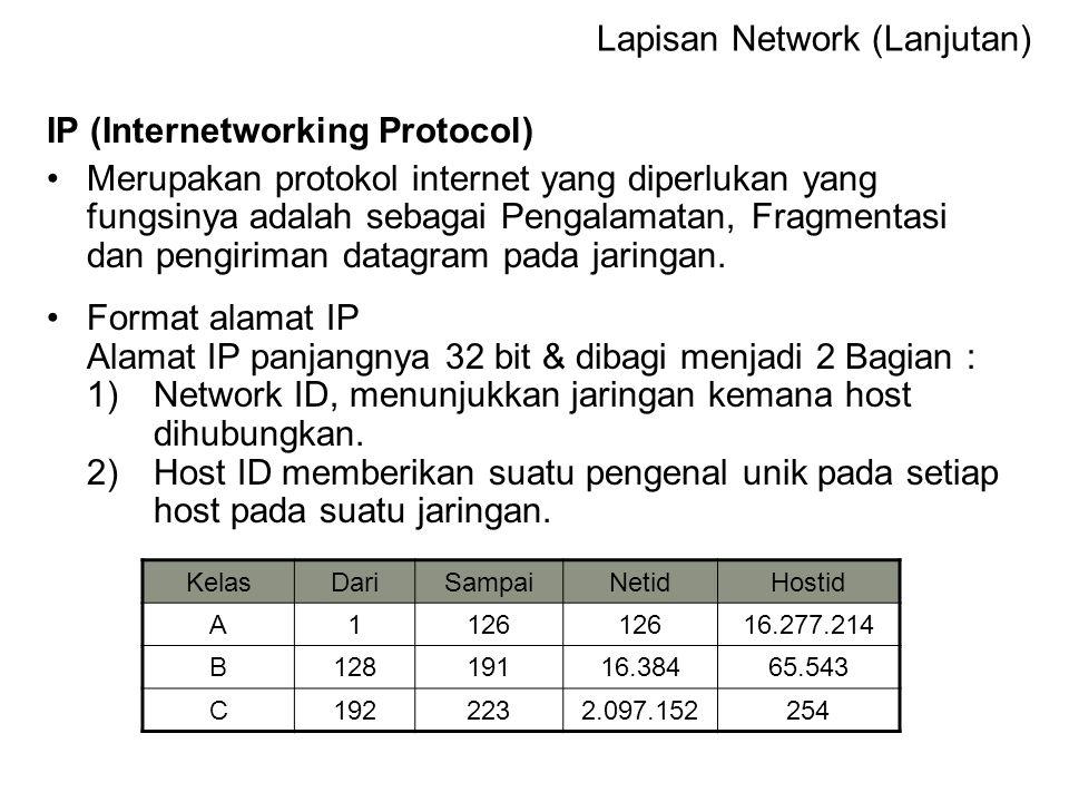 ARP (Address Resolution Protocol) Proses pemetaan alamat fisik (Physical Address) seperti alamat NIC yang berasosiasi kepada logical address (alamat IP)  Logic ke Fisik RARP (Reverse Address Resolution Protocol Adalah komplemen dari ARP dimana protokol ini membantu host untuk menentukan alamat IP dari sebuah alamat perangkat keras.