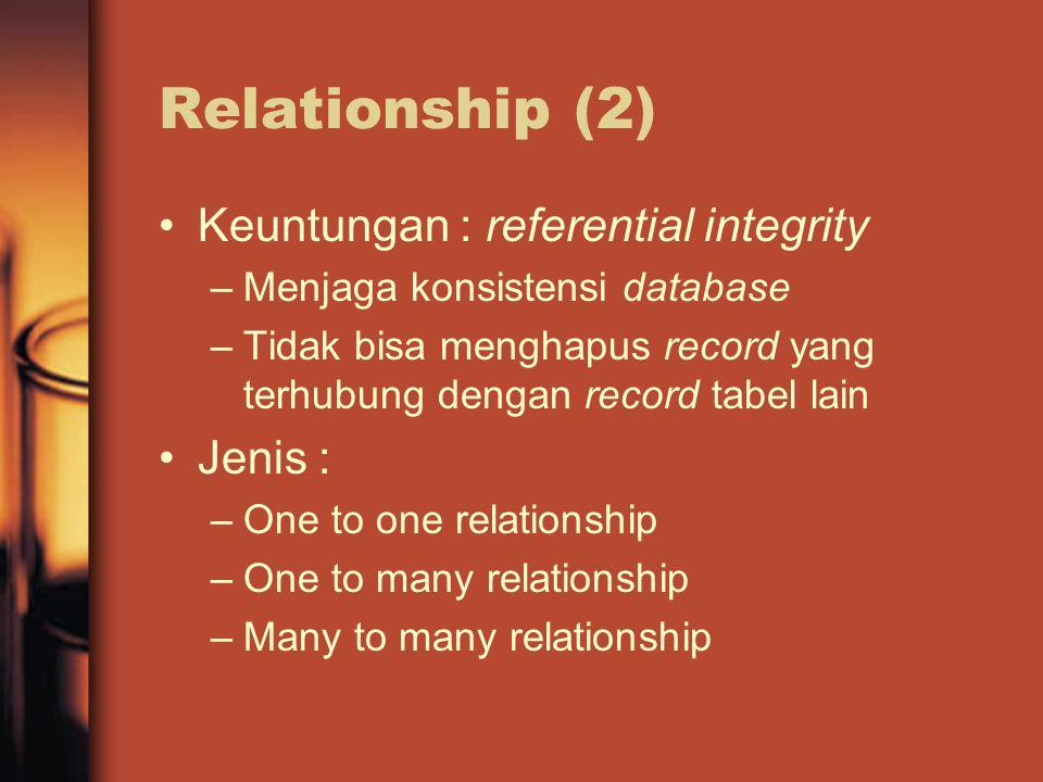 Relationship (2) Keuntungan : referential integrity –Menjaga konsistensi database –Tidak bisa menghapus record yang terhubung dengan record tabel lain Jenis : –One to one relationship –One to many relationship –Many to many relationship