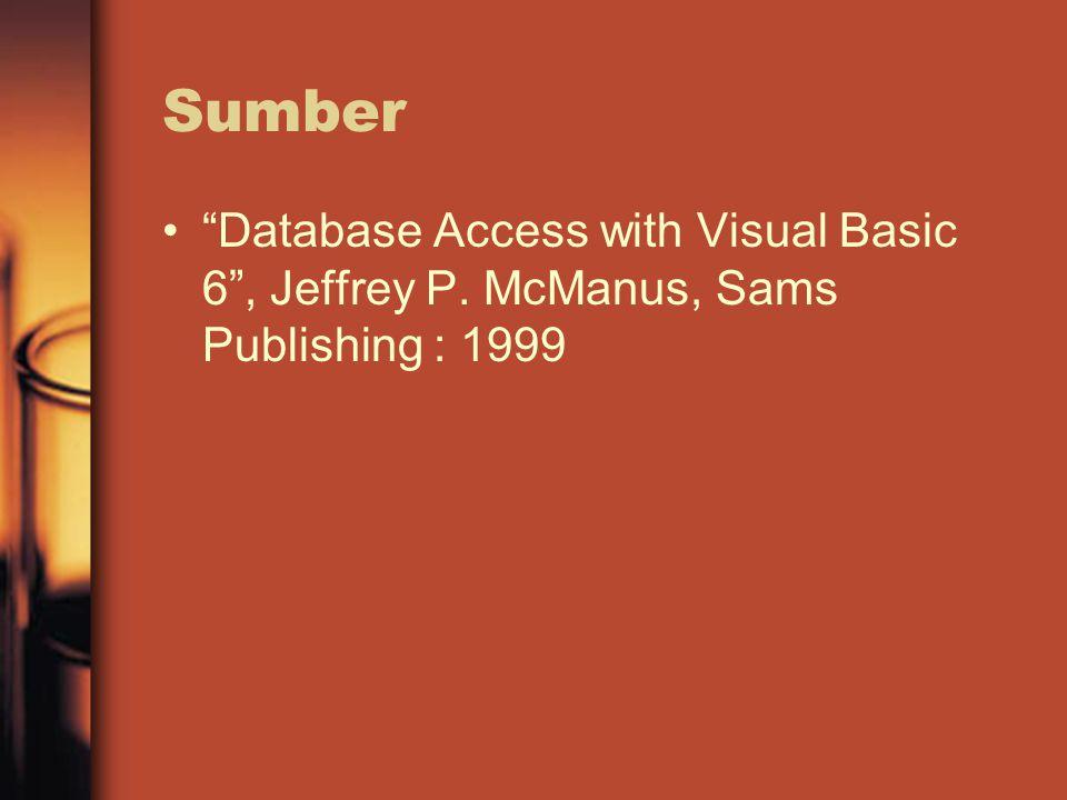 Sumber Database Access with Visual Basic 6 , Jeffrey P. McManus, Sams Publishing : 1999