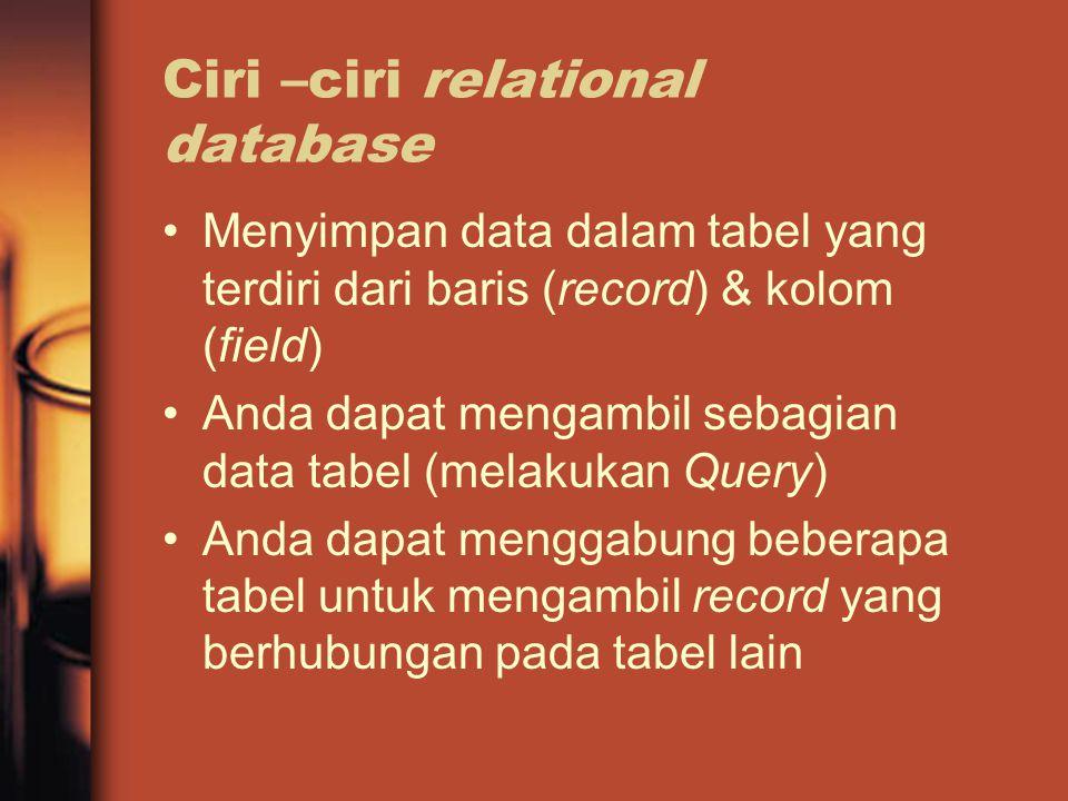 Ciri –ciri relational database Menyimpan data dalam tabel yang terdiri dari baris (record) & kolom (field) Anda dapat mengambil sebagian data tabel (melakukan Query) Anda dapat menggabung beberapa tabel untuk mengambil record yang berhubungan pada tabel lain