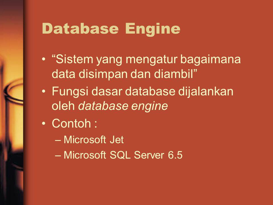 Database Engine Sistem yang mengatur bagaimana data disimpan dan diambil Fungsi dasar database dijalankan oleh database engine Contoh : –Microsoft Jet –Microsoft SQL Server 6.5