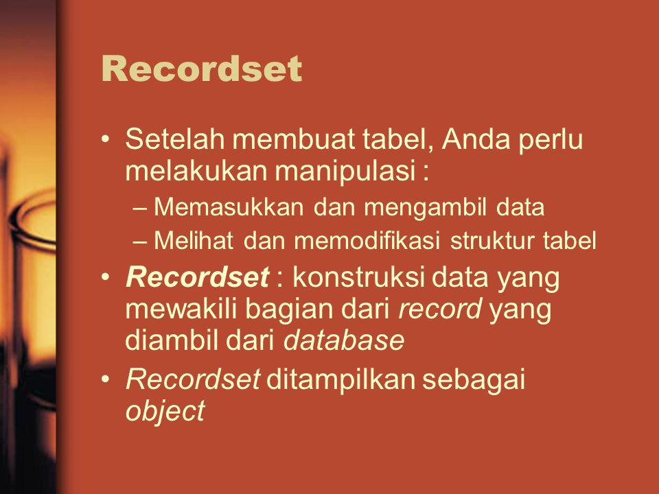 Recordset Setelah membuat tabel, Anda perlu melakukan manipulasi : –Memasukkan dan mengambil data –Melihat dan memodifikasi struktur tabel Recordset : konstruksi data yang mewakili bagian dari record yang diambil dari database Recordset ditampilkan sebagai object