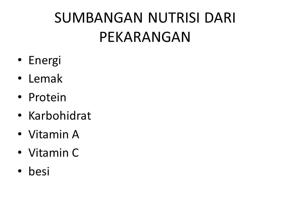 SUMBANGAN NUTRISI DARI PEKARANGAN Energi Lemak Protein Karbohidrat Vitamin A Vitamin C besi