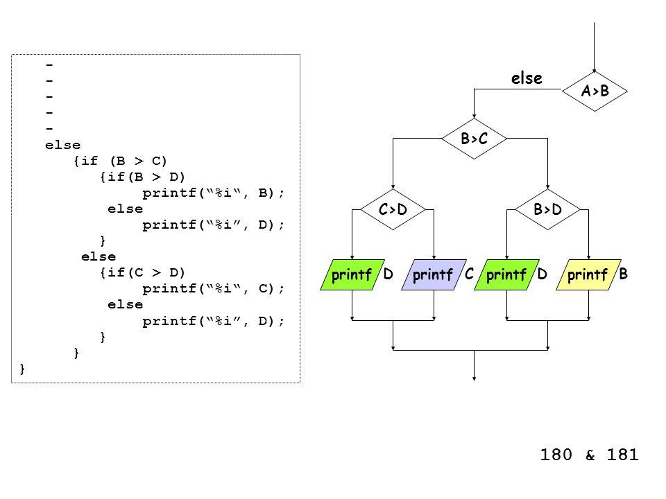 """- else {if (B > C) {if(B > D) printf(""""%i"""", B); else printf(""""%i"""", D); } else {if(C > D) printf(""""%i"""", C); else printf(""""%i"""", D); } A>B printf B>C BC B>D"""