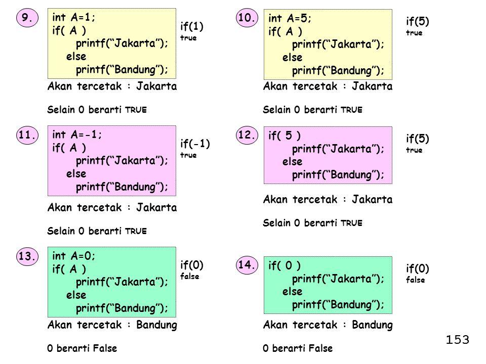 "9. int A=1; if( A ) printf(""Jakarta""); else printf(""Bandung""); Akan tercetak : Jakarta Selain 0 berarti TRUE 10. if(1) true int A=5; if( A ) printf(""J"