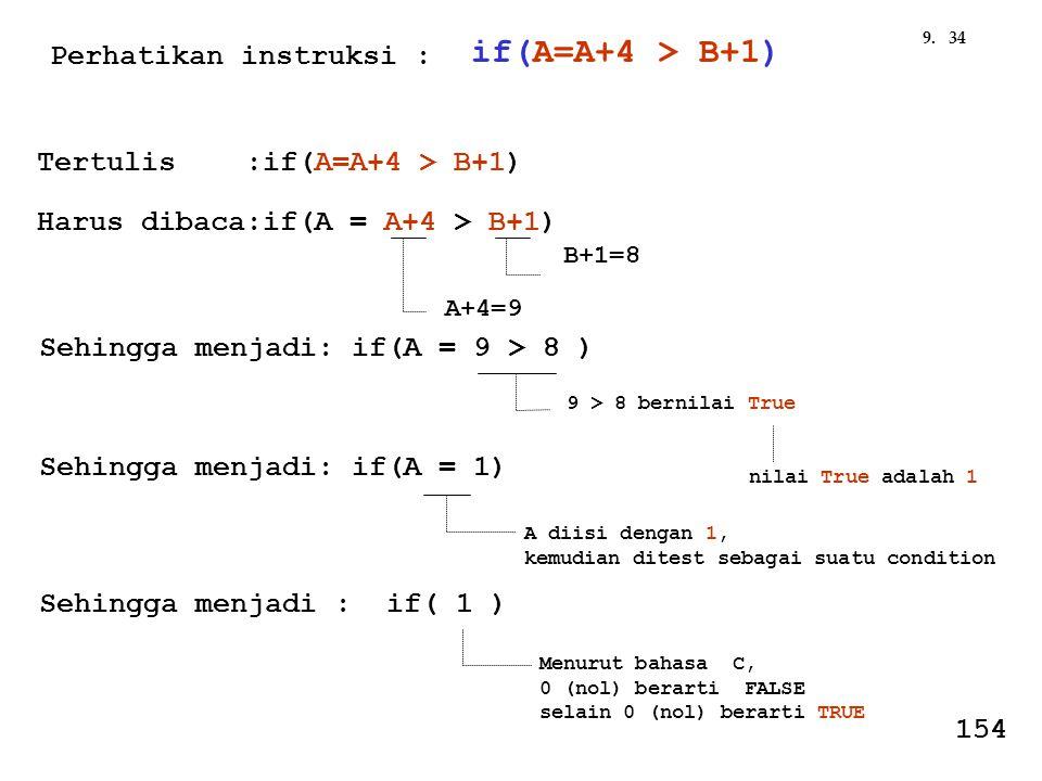 349. Tertulis :if(A=A+4 > B+1) Harus dibaca:if(A = A+4 > B+1) B+1=8 A+4=9 Sehingga menjadi: if(A = 9 > 8 ) 9 > 8 bernilai True nilai True adalah 1 Seh