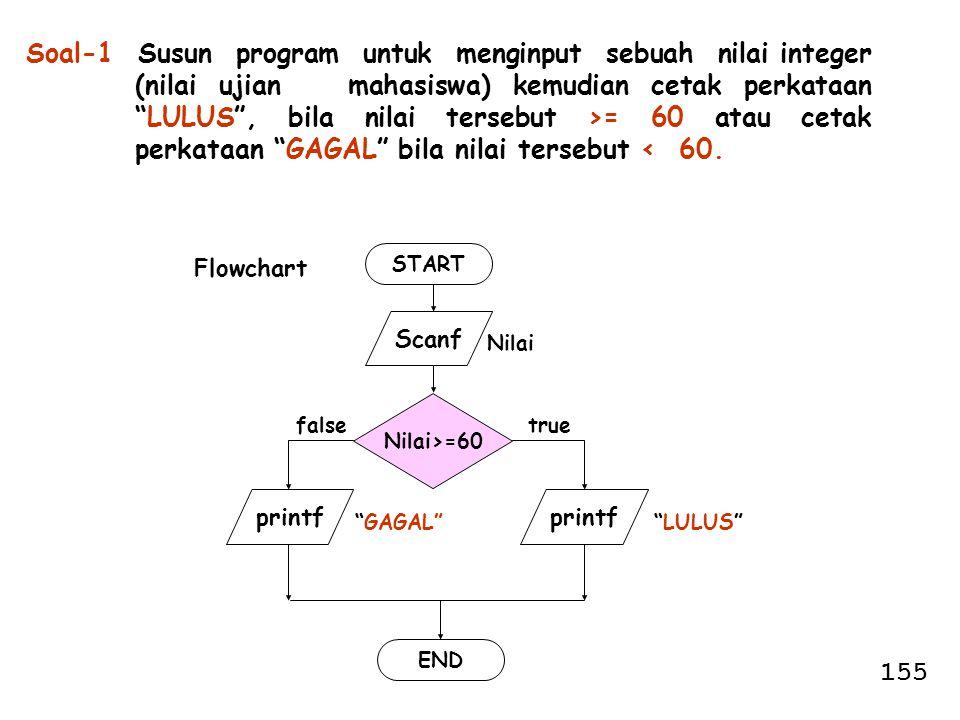 "Soal-1 Susun program untuk menginput sebuah nilai integer (nilai ujian mahasiswa) kemudian cetak perkataan ""LULUS"", bila nilai tersebut >= 60 atau cet"