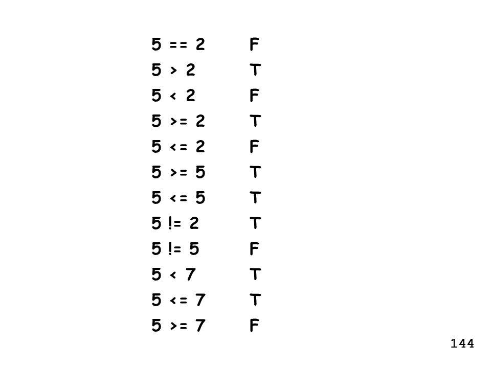 5 == 2F 5 > 2T 5 < 2F 5 >= 2T 5 <= 2F 5 >= 5T 5 <= 5T 5 != 2T 5 != 5F 5 < 7T 5 <= 7T 5 >= 7F 144