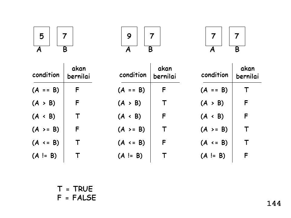 (A == B) (A > B) (A < B) (A >= B) (A <= B) (A != B) condition akan bernilai FFTFTTFFTFTT T = TRUE F = FALSE (A == B) (A > B) (A < B) (A >= B) (A <= B)