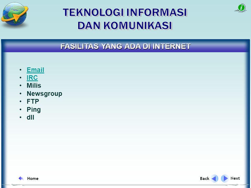 Sarana untuk mendapatkan data dan informasi secara murah Sarana untuk media promosi Sarana untuk komunikasi interaktif Sarana untuk Research and Development Sarana untuk saling bertukar data dan informasi MANFAAT INTERNET Next Back Home