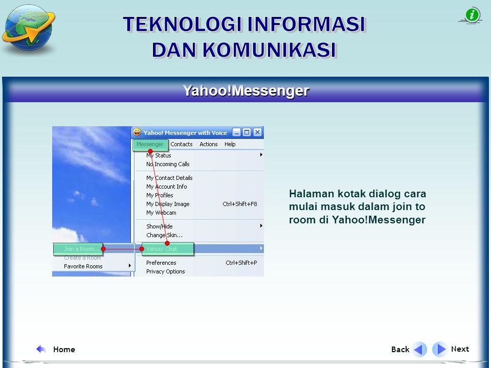 Yahoo!Messenger Next Back Home Halaman kotak dialog untuk login atau membuat ID dalam Yahoo!Messenger