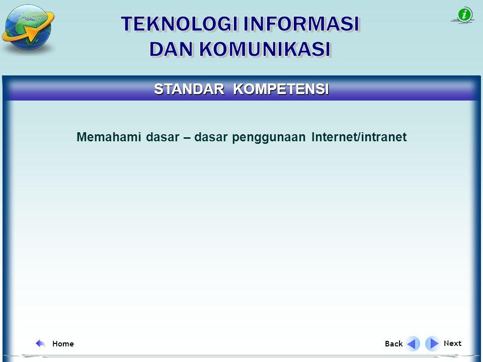 Next Back Home REFERENSI Standard Kompetensi Standard Kompetensi Dasar Kompetensi Dasar Indikator Tujuan Pembelajaran Uraian Materi Uraian Materi Latihan Soal Latihan Soal Evaluasi M E N U Tujuan Pembelajaran1 Tujuan Pembelajaran2