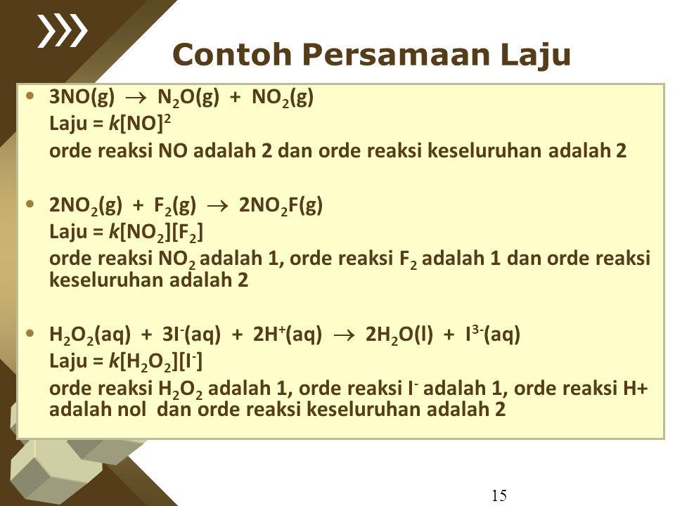 15 Contoh Persamaan Laju 3NO(g)  N 2 O(g) + NO 2 (g) Laju = k[NO] 2 orde reaksi NO adalah 2 dan orde reaksi keseluruhan adalah 2 2NO 2 (g) + F 2 (g)