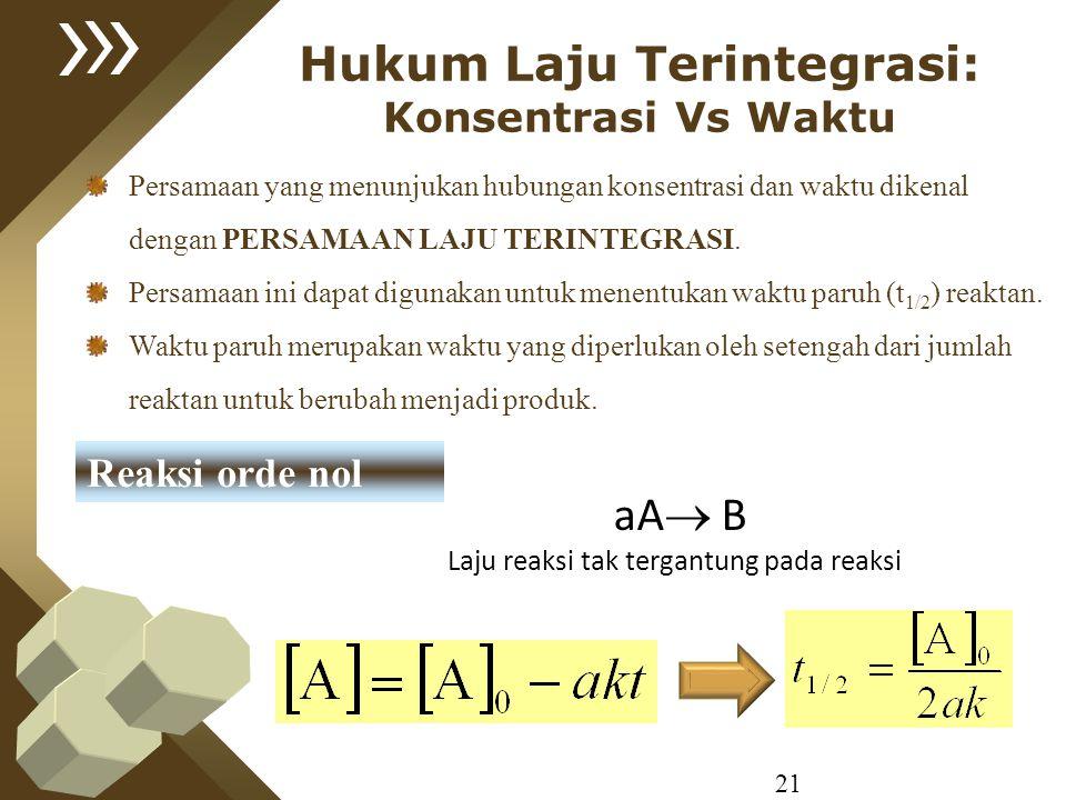 21 Hukum Laju Terintegrasi: Konsentrasi Vs Waktu Reaksi orde nol aA  B Laju reaksi tak tergantung pada reaksi Persamaan yang menunjukan hubungan kons