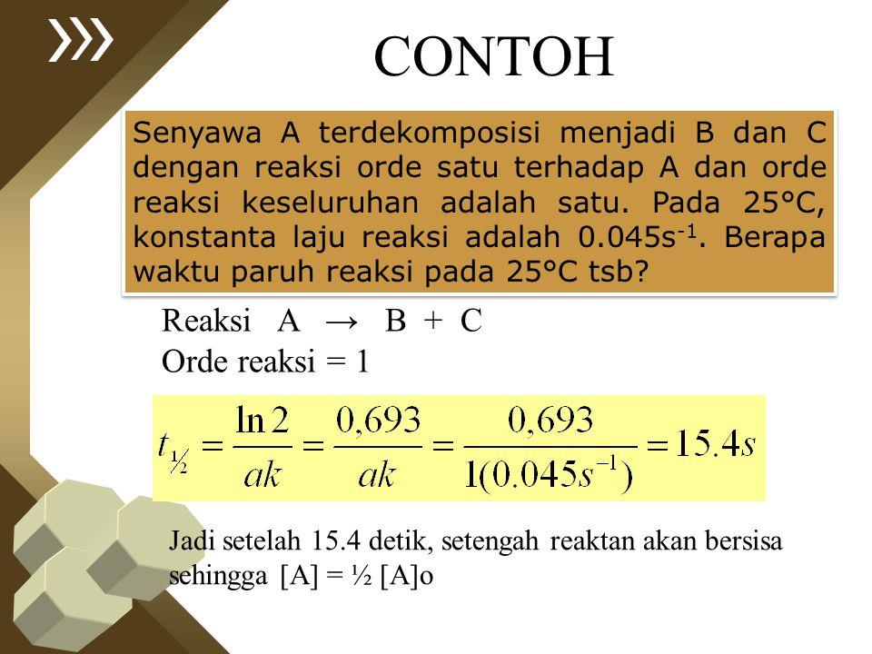 CONTOH Senyawa A terdekomposisi menjadi B dan C dengan reaksi orde satu terhadap A dan orde reaksi keseluruhan adalah satu. Pada 25°C, konstanta laju