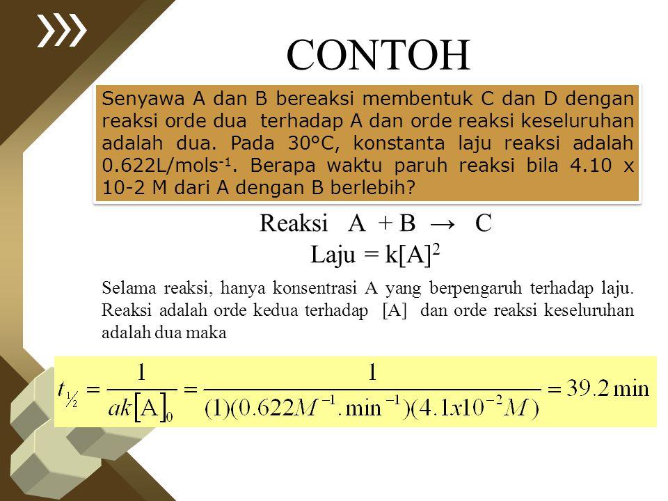 CONTOH Senyawa A dan B bereaksi membentuk C dan D dengan reaksi orde dua terhadap A dan orde reaksi keseluruhan adalah dua. Pada 30°C, konstanta laju