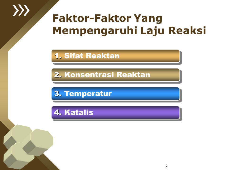 Faktor-Faktor Yang Mempengaruhi Laju Reaksi 1. 1. Sifat Reaktan 2. 2. Konsentrasi Reaktan 3. 3. Temperatur 4. 4. Katalis 3