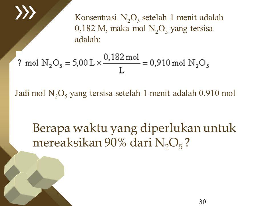 30 Konsentrasi N 2 O 5 setelah 1 menit adalah 0,182 M, maka mol N 2 O 5 yang tersisa adalah: Jadi mol N 2 O 5 yang tersisa setelah 1 menit adalah 0,91
