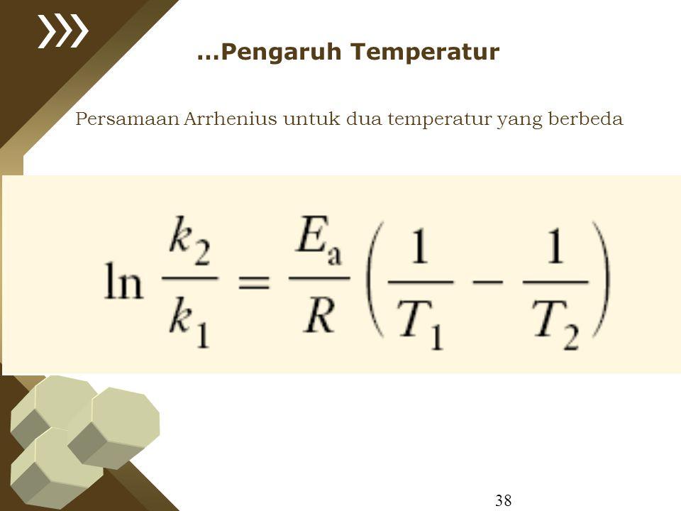 38 …Pengaruh Temperatur Persamaan Arrhenius untuk dua temperatur yang berbeda