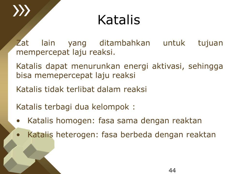 44 Katalis Zat lain yang ditambahkan untuk tujuan mempercepat laju reaksi. Katalis dapat menurunkan energi aktivasi, sehingga bisa memepercepat laju r