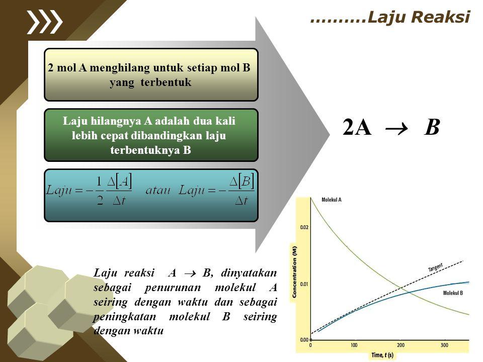 2 mol A menghilang untuk setiap mol B yang terbentuk Laju hilangnya A adalah dua kali lebih cepat dibandingkan laju terbentuknya B 2A  B ……….Laju Rea