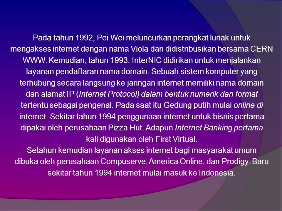 Pada tahun 1992, Pei Wei meluncurkan perangkat lunak untuk mengakses internet dengan nama Viola dan didistribusikan bersama CERN WWW.
