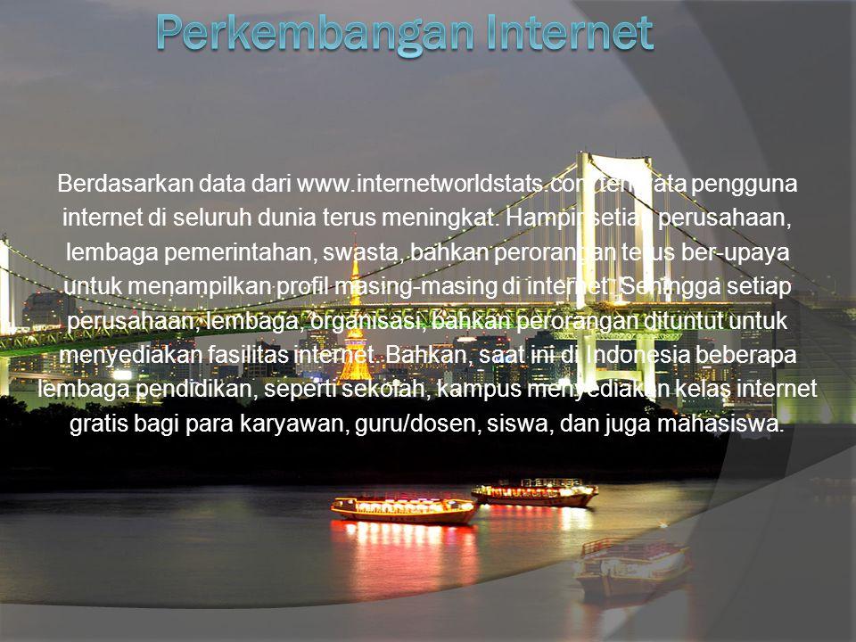 Berdasarkan data dari www.internetworldstats.com ternyata pengguna internet di seluruh dunia terus meningkat.