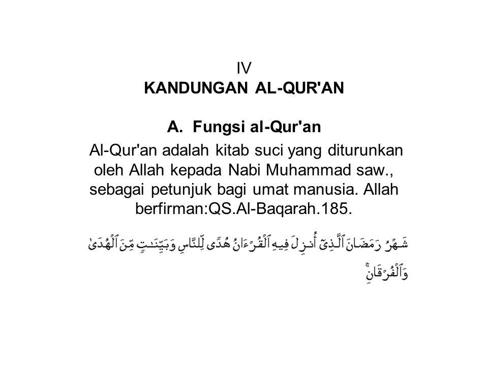IV KANDUNGAN AL-QUR'AN A. Fungsi al-Qur'an Al-Qur'an adalah kitab suci yang diturunkan oleh Allah kepada Nabi Muhammad saw., sebagai petunjuk bagi uma