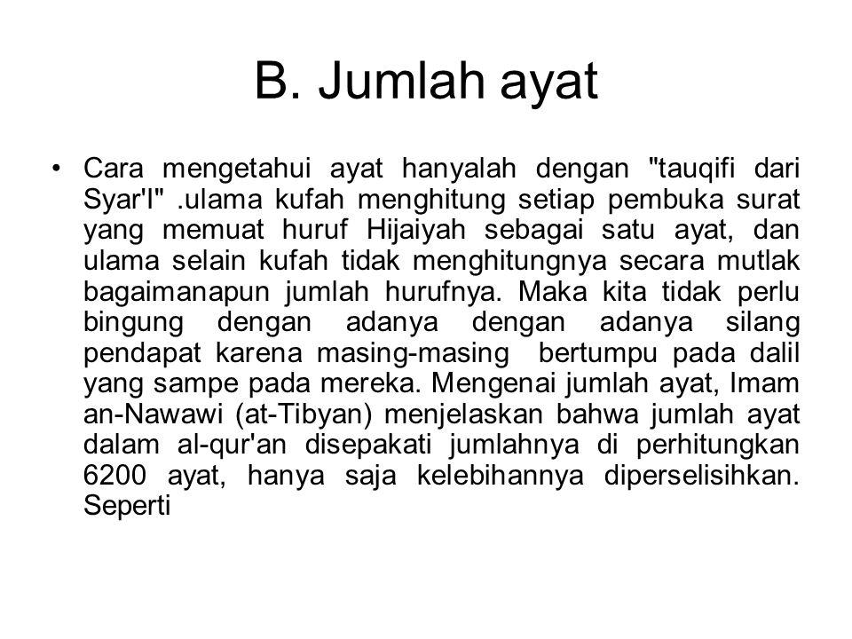 B. Jumlah ayat Cara mengetahui ayat hanyalah dengan