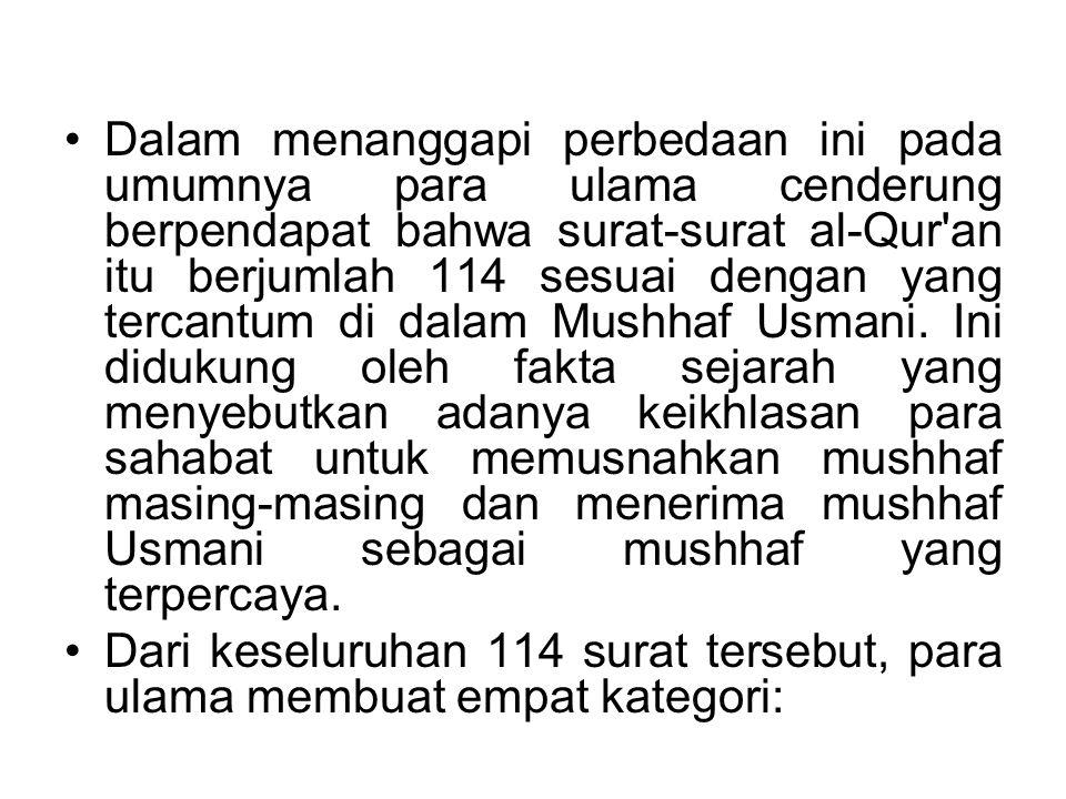 Dalam menanggapi perbedaan ini pada umumnya para ulama cenderung berpendapat bahwa surat-surat al-Qur'an itu berjumlah 114 sesuai dengan yang tercantu