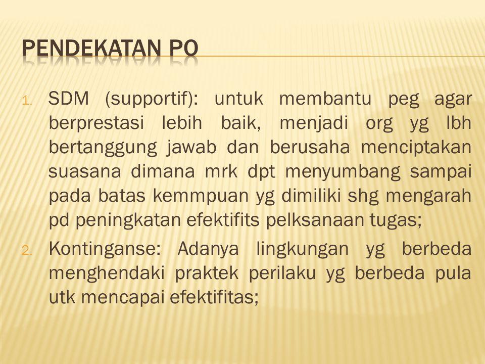 1. SDM (supportif): untuk membantu peg agar berprestasi lebih baik, menjadi org yg lbh bertanggung jawab dan berusaha menciptakan suasana dimana mrk d