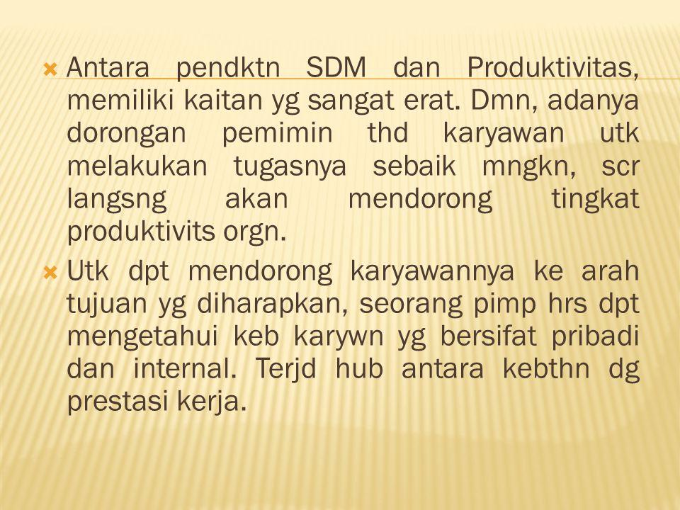  Antara pendktn SDM dan Produktivitas, memiliki kaitan yg sangat erat.