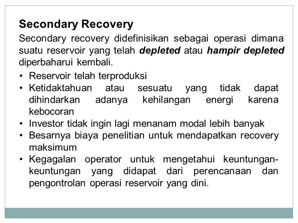 Secondary Recovery Reservoir telah terproduksi Ketidaktahuan atau sesuatu yang tidak dapat dihindarkan adanya kehilangan energi karena kebocoran Inves